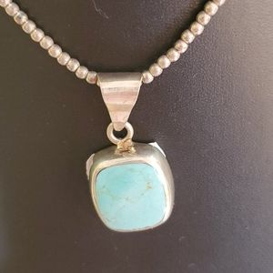 Vintage Turquoise Pendant  Ball Sterling Necklace
